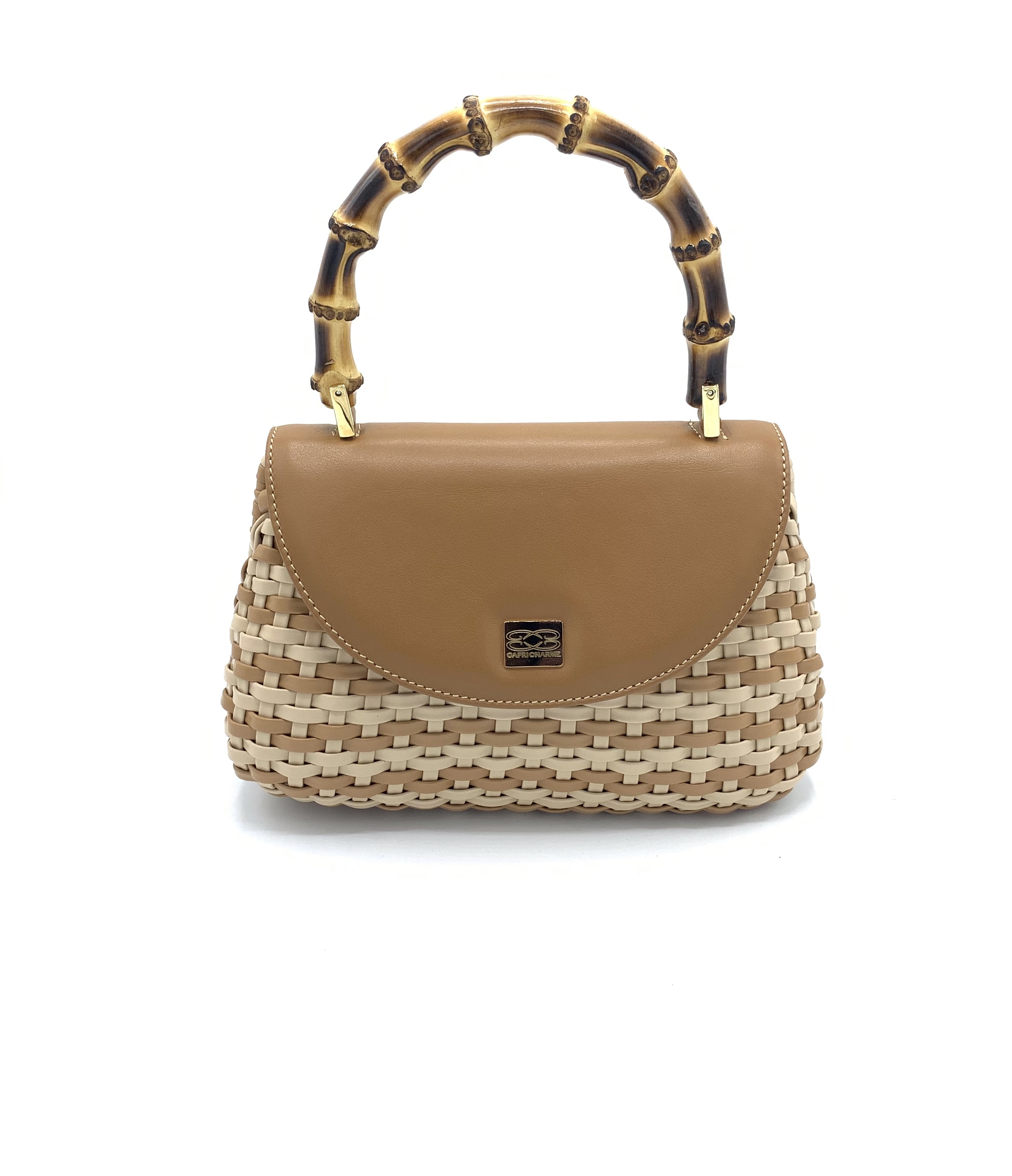 Shoulder bag Miami in  woven leather/toffee