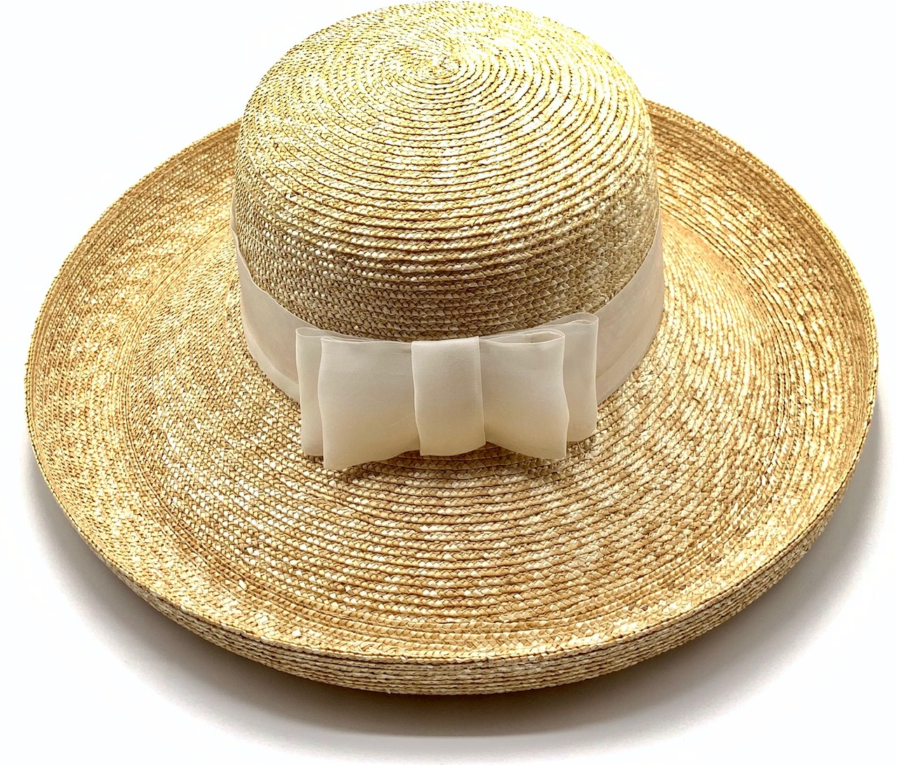 Woman Grace hat in natural straw with a white wide brim Size 58