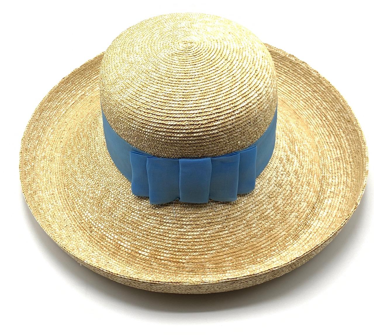 Cappello Grace Donna in paglia naturale a tesa larga Azzurro Taglia 58