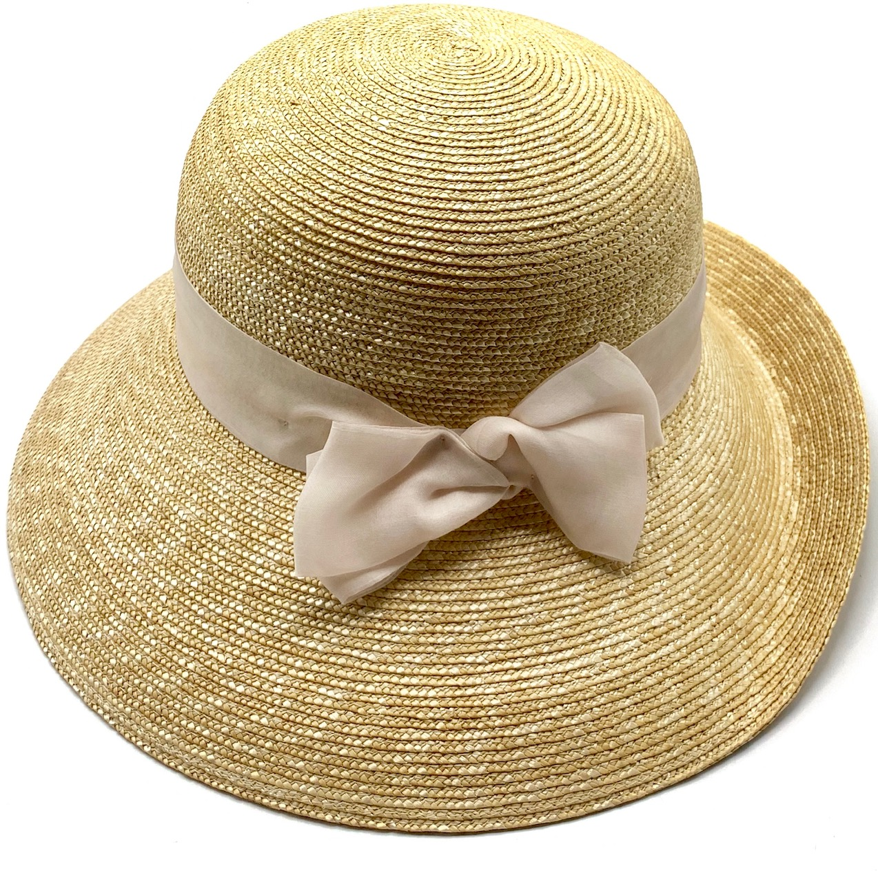 Women Audrey Hat in Natural Straw in Romantic Rose Size 57