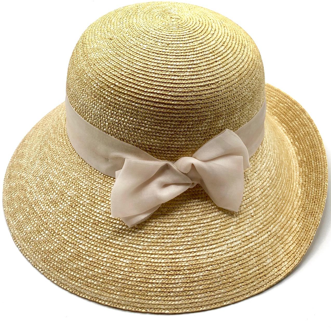 Cappello Audrey Donna in paglia naturale in stile romantico Rosa Nude Taglia 58