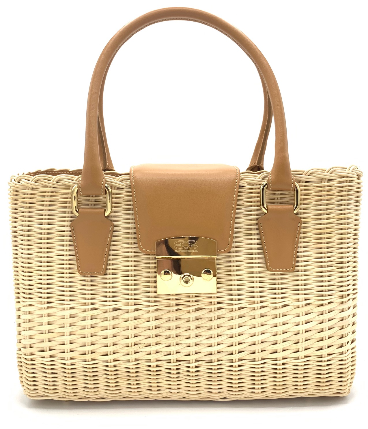 Saint Barth tote bag in natural wicker/toffee