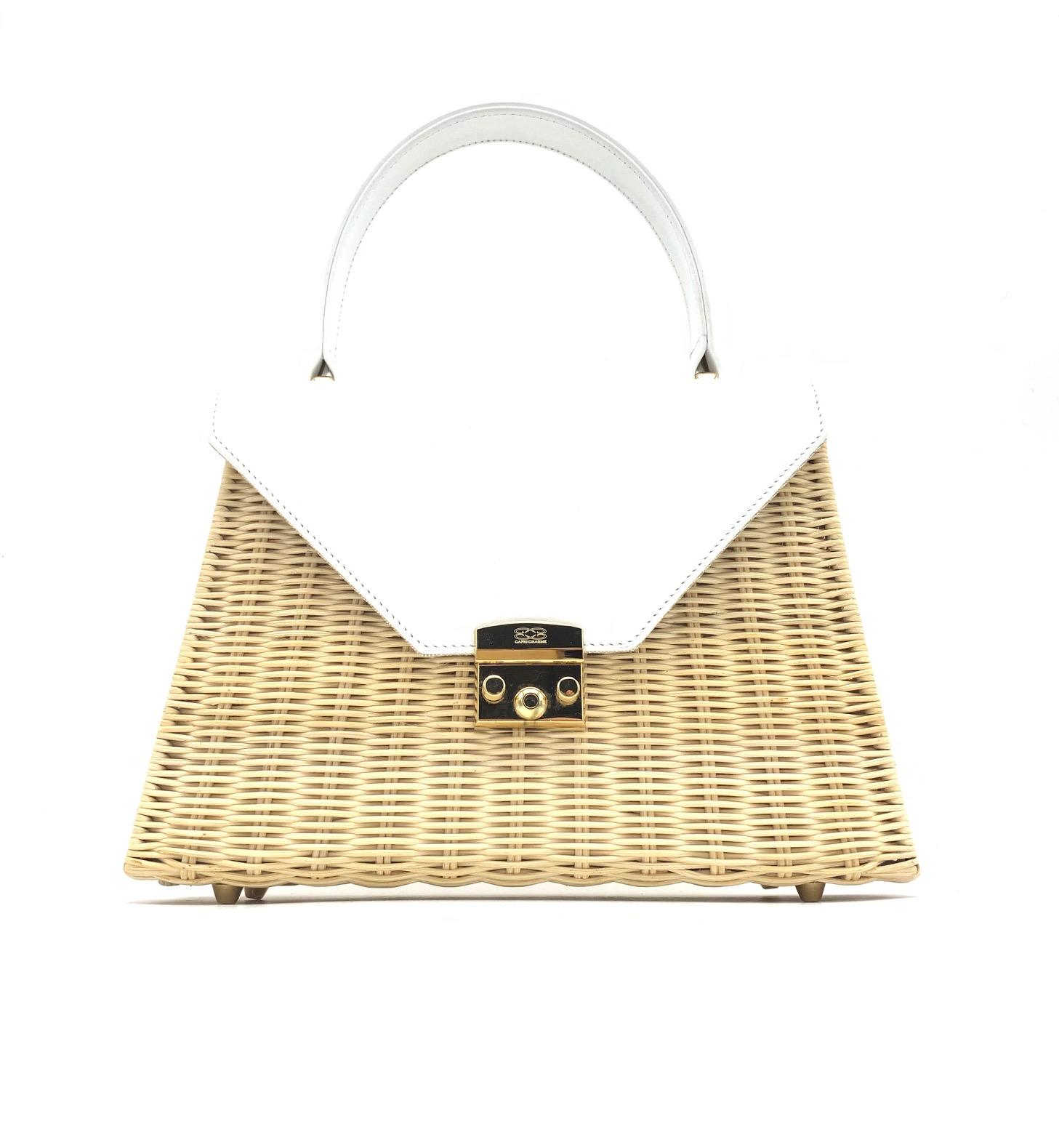 Capri handbag in natural wicker/white