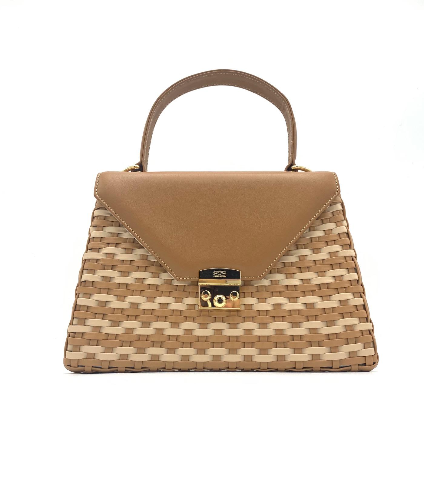 Capri handbag in woven calf leather/toffee
