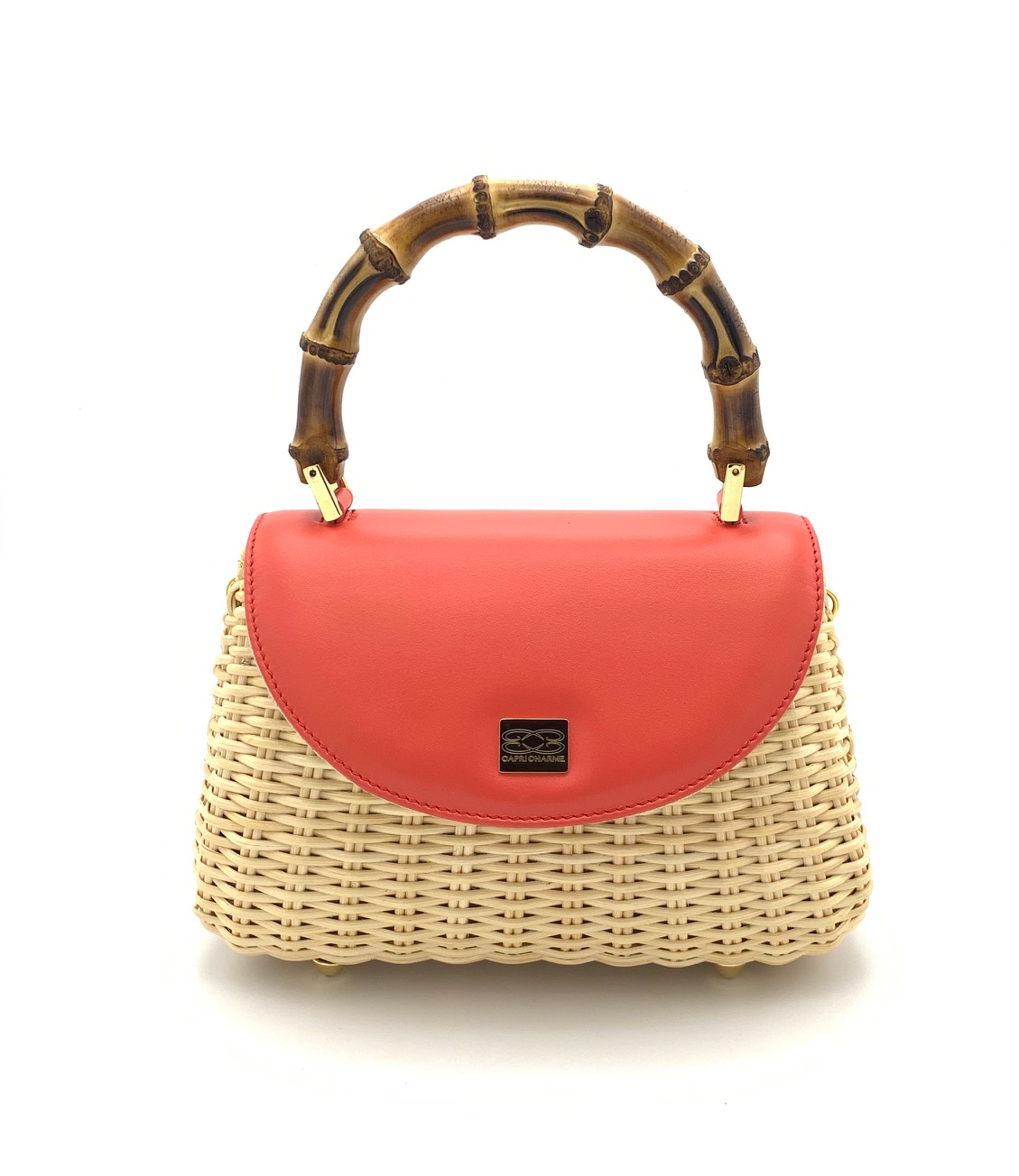 Shoulder bag Miami in natural wicker coral