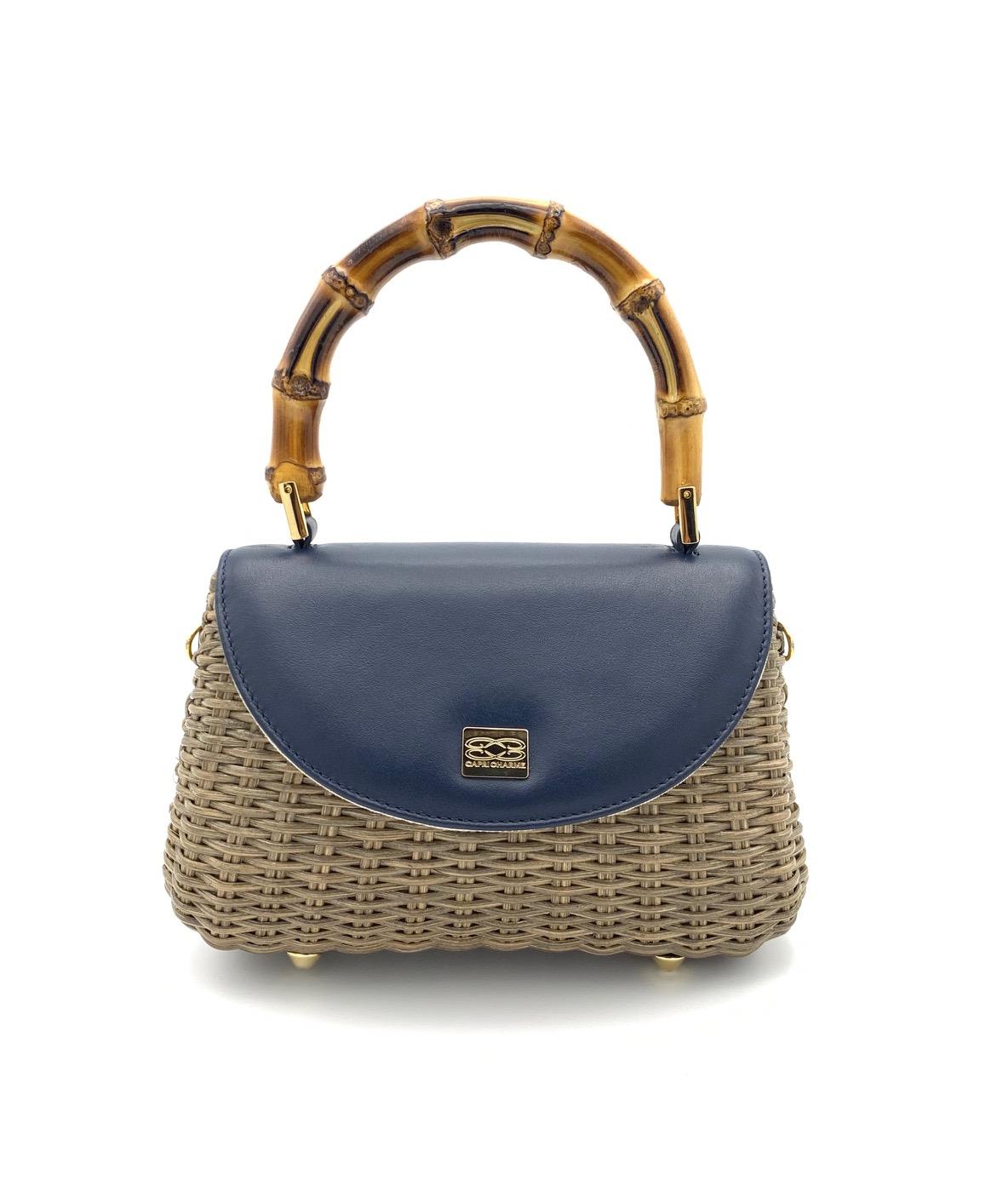 Shoulder bag Miami in natural wicker soy/blue navy