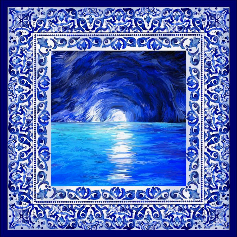 Foulard/Stola in seta La Grotta Azzurra 140 x 140 cm