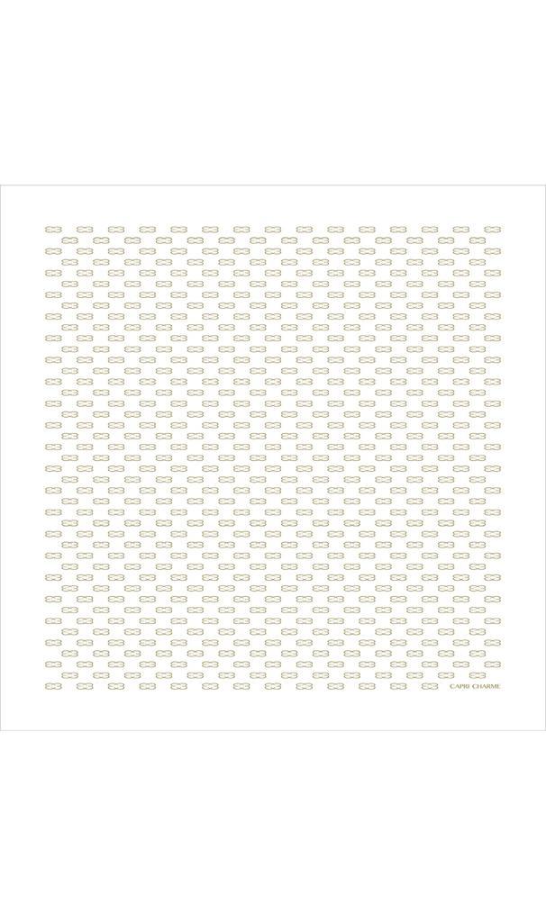Foulard/Stola in seta stampa Monogram bianco/oro 140 x 140 cm