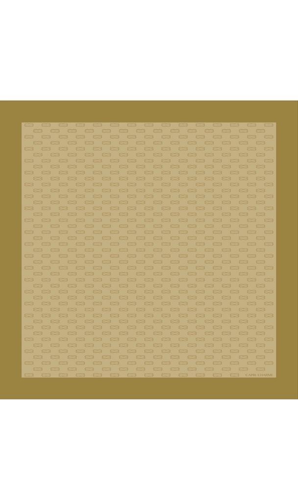 Foulard/Stola in seta stampa Monogram ocra chiaro/oro 140 x 140 cm